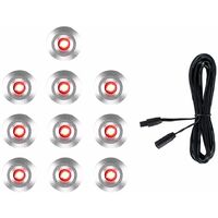 10 x 15mm LED Round IP67 Garden Decking Kitchen Plinth Lights Kit - 3M Extension Cable