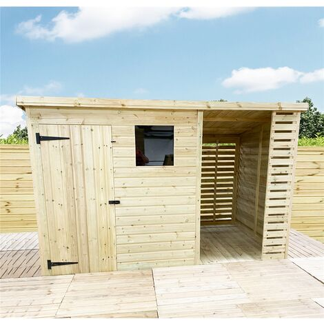 """main image of """"10 X 4 Pressure Treated Tongue And Groove Pent Shed With Storage Area + 1 Window"""""""