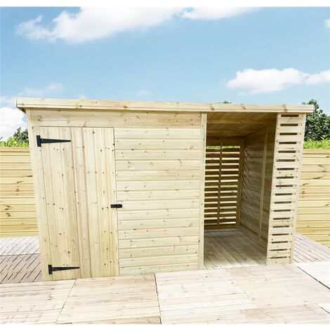 """main image of """"10 X 4 Pressure Treated Tongue And Groove Pent Shed With Storage Area Windowless"""""""