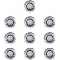 10 x 40mm Blue LED Round Garden Decking Kitchen Plinth Lights Kit - IP67