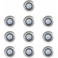 10 x 40mm Cool White LED Round Garden Decking Kitchen Plinth Lights Kit - IP67