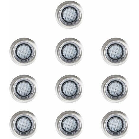 10 x 40mm LED Round Garden Decking Lights Kit - IP67 - Blue - Silver
