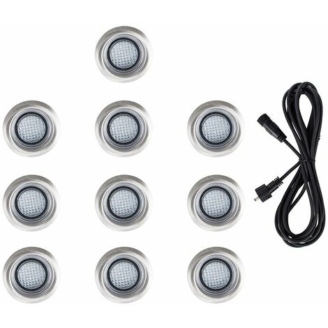 10 x 40Mm LED Round Ip67 Garden Decking Kitchen Plinth Lights Kit - 3M Extension Cable