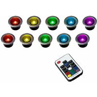 10 x 40mm Remote Control Colour Changing LED Round Garden Decking Kitchen Plinth Lights Kit