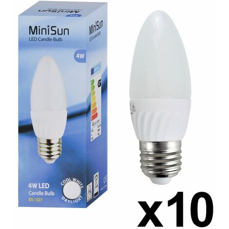 10 x 4W High Power LED ES E27 Frosted Candle Bulbs
