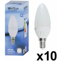10 x 4w High Power LED SES E14 Frosted Candle Bulbs - 6500K Cool White