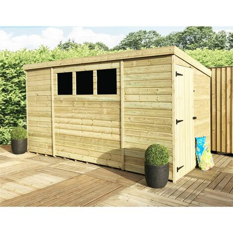 10 x 5 Pressure Treated Tongue And Groove Pent Shed With 3 Windows And Single Side Door + Safety Toughened Glass