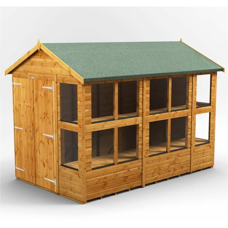 10 x 6 Premium Tongue and Groove Apex Potting Shed - Double Doors - 14 Windows - 12mm Tongue and Groove Floor and Roof