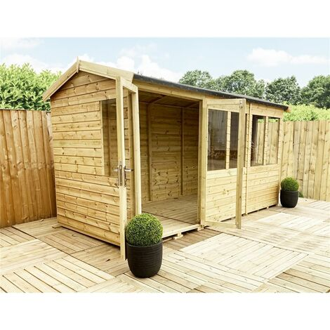 10 x 6 REVERSE Pressure Treated Tongue And Groove Apex Summerhouse + Safety Toughened Glass + Euro Lock with Key