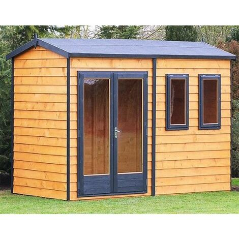 10 x 7 (3.02m x 2.23m) - Premier Reverse Wooden Studio Summerhouse - 2 Windows - Double Doors - 20mm Walls (CORE)
