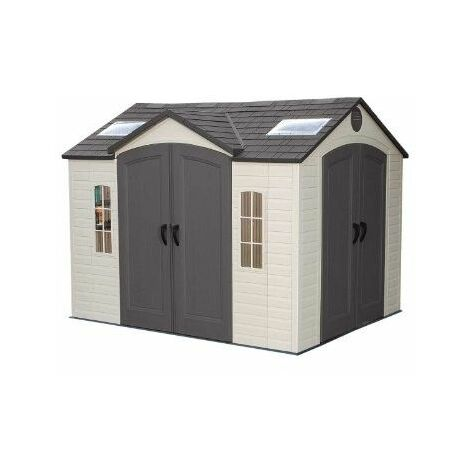 10 x 8 Life Plus Double Entrance Plastic Apex Shed With Plastic Floor + 2 Windows + 1 Opening Window (3.05m x 2.43m)