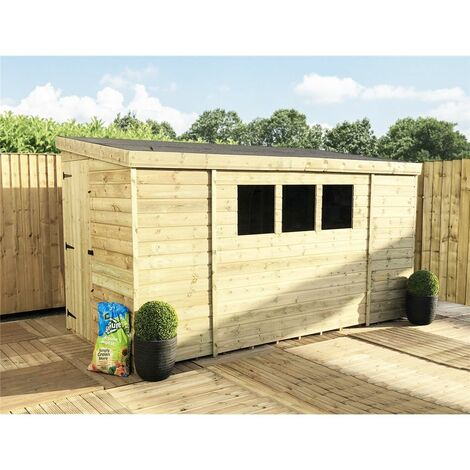 10 x 8 Reverse Pressure Treated Tongue And Groove Pent Shed With 3 Windows And Single Door + Safety Toughened Glass