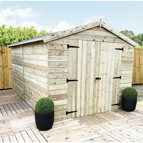 10 x 8 Windowless Premier Pressure Treated Tongue And Groove Apex Shed With Higher Eaves And Ridge Height And Double Doors