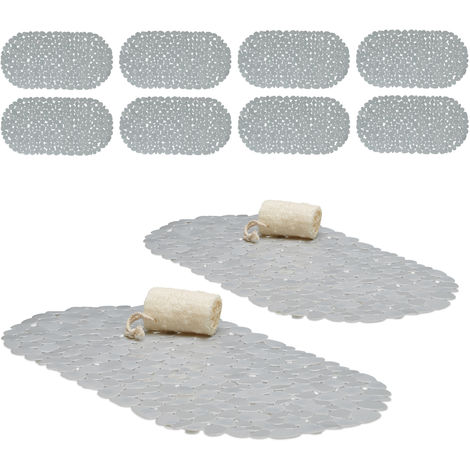10 x Bathtub Mat, Pebble Design, Non-Slip Bath or Shower Insert, Suction Cups, LxW: 66.5 x 34.5 cm, Grey