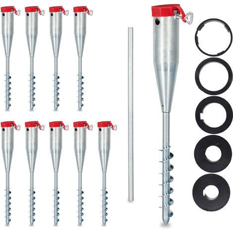 10 x Bodenhülse Sonnenschirm, Drehhülse, Adapter 25 - 55 mm, Sonnenschirmhalter, Drehstange, Stahl verzinkt, silber