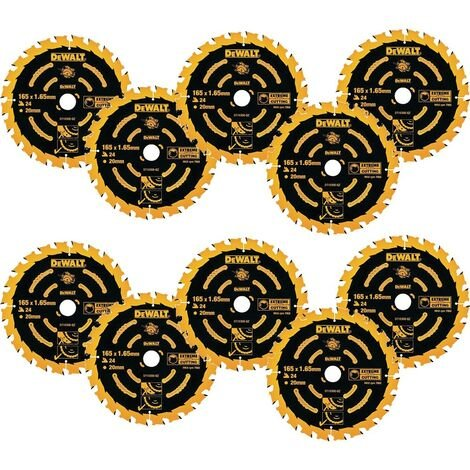 10 x Dewalt DT10300 Circular Saw Blades 165 x 20 x 24T Extreme Framing DWE550