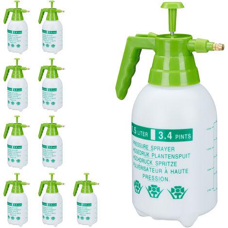 10 x Drucksprüher, 1,5 Liter, einstellbare Messingdüse, Garten, Bewässerung, Schädlingsbekämpfung, PE, weiß/grün