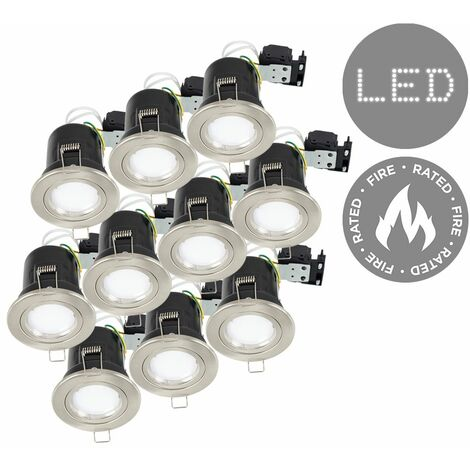 10 x Fire Rated Die Cast Twist & Lock Brushed Chrome Gu10 Ceiling Downlight