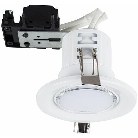 10 x Fire Rated GU10 Recessed Ceiling Spotlights + Warm White LED GU10 Bulbs