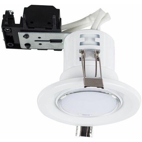 10 x Fire Rated GU10 Recessed Ceiling Spotlights + Warm White LED GU10 Bulbs - Copper - Copper