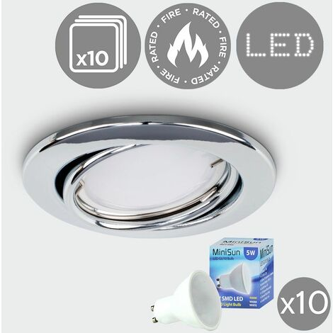 10 x Fire Rated Tiltable Gu10 Modern Round Ceiling Recessed + Warm White Gu10 LED Bulbs