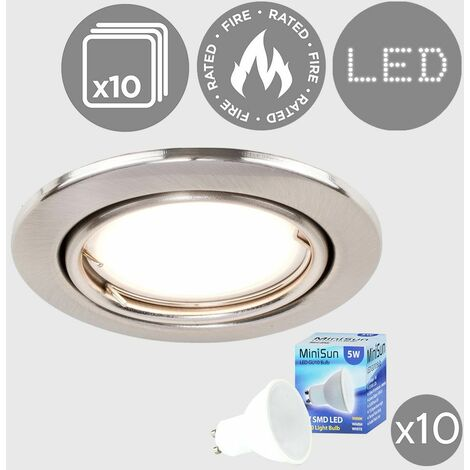 10 x Fire Rated Tiltable Recessed Ceiling Downlights + Warm White LED GU10 Bulbs