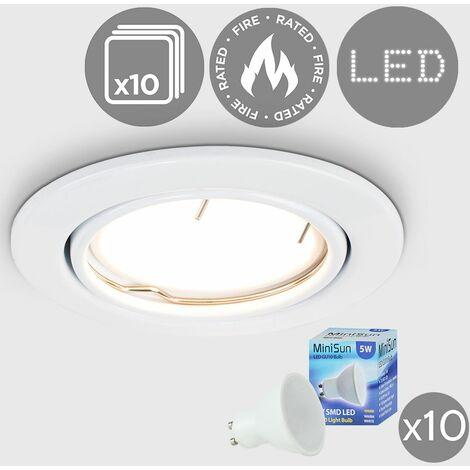 10 x Fire Tiltable Recessed Ceiling Downlights + LED GU10 Bulbs - 3000K Warm White