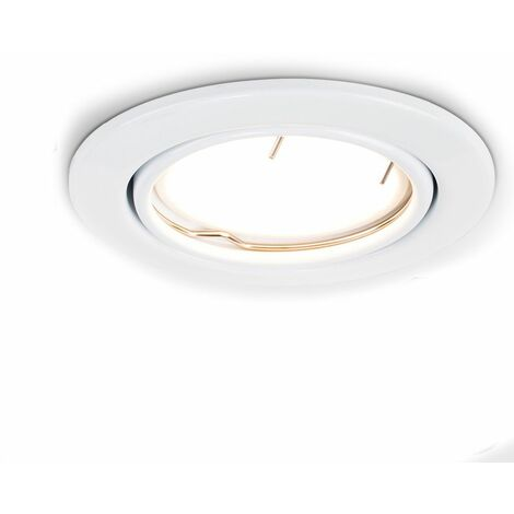 10 x Fire Tiltable Recessed Ceiling Downlights + LED GU10 Bulbs - 6500K Cool White