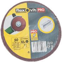 10 x Flexovit Abrasive Coarse - Sanding Grit Disc - 50g - 125mm