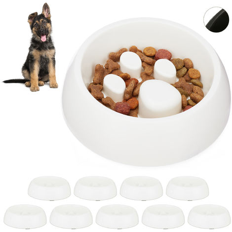 10 x Foraging Feeding Bowl for Slow Eating, Cats & Dogs, Bloat Stop Dish, Dishwasher-Safe, White