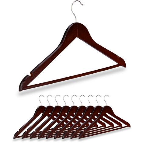 10 x Kleiderbügel Holz, Kerben, Hosensteg, Garderobenbügel, 360° drehbarer Haken, 44,5 cm breit, Bügel Set, braun