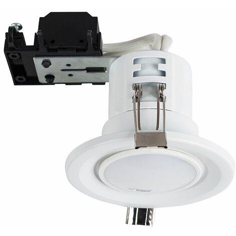 10 x MiniSun Fire Rated GU10 Recessed Ceiling Spotlights + LED GU10 Bulbs - 3000K Warm White