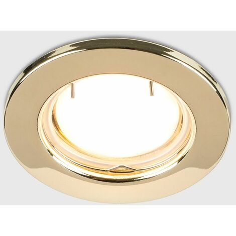 10 x Fire Rated GU10 Recessed Ceiling Spotlights + Warm White LED GU10 Bulbs - Polished Gold