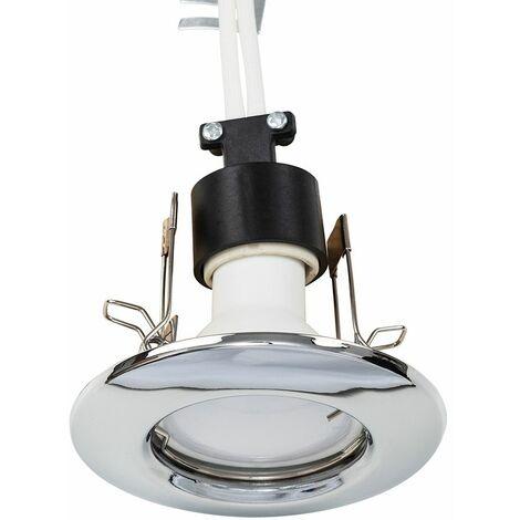 10 x MiniSun Recessed GU10 Ceiling Downlights - Chrome