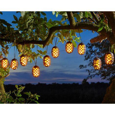10 x Smart Garden Solar Cool Flame Lantern LED String Lights 4.7m
