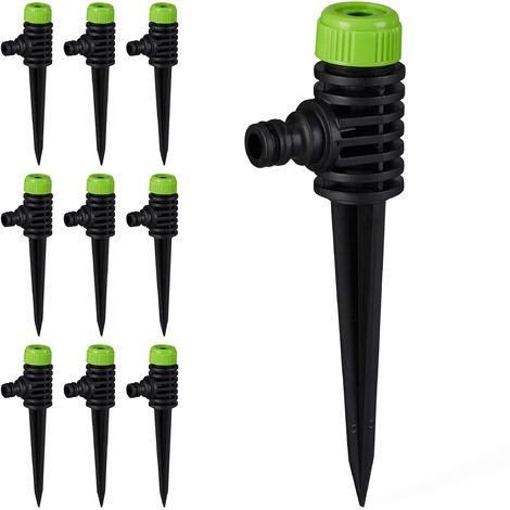 10 x Sprühregner Garten, 1/2 Zoll Wasserschlauchanschluss, mit Erdspieß, Flächen bis 30 m², Sprinkler, grün-schwarz
