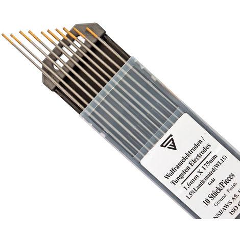 10 x STAHLWERK TIG electrodos de soldadura de tungsteno 1,6 x 175 mm WL15 dorado sin torio - para acero, acero inoxidable, aluminio, cobre 10 piezas.