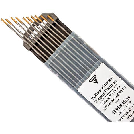 10 x STAHLWERK TIG Electrodos de soldadura de tungsteno 2,4 x 175 mm WL15 dorado libre de torio - agujas TIG universales para acero, acero inoxidable, aluminio, cobre 10 piezas.