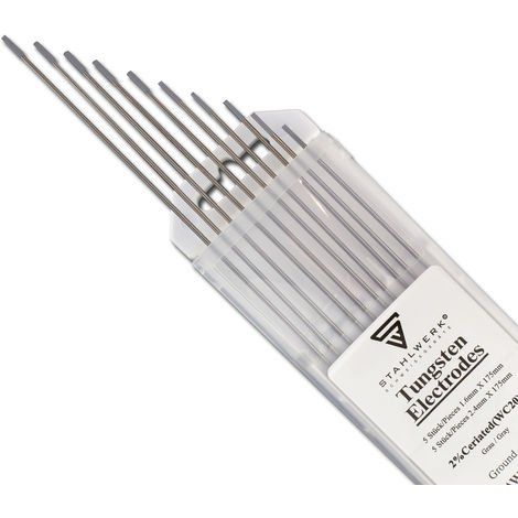 10 x STAHLWERK TIG electrodos de soldadura de tungsteno 2,4mm x 175 mm WC20 Sin torio - para acero, acero inoxidable, aluminio, cobre, gris, 10 piezas.
