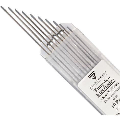 10 x STAHLWERK WIG Wolfram Schweißelektroden 1,6 x 175 mm WC20 Thoriumfrei - universelle WIG Nadeln für Stahl, Edelstahl, Alu, Kupfer, grau, 10 Stk.