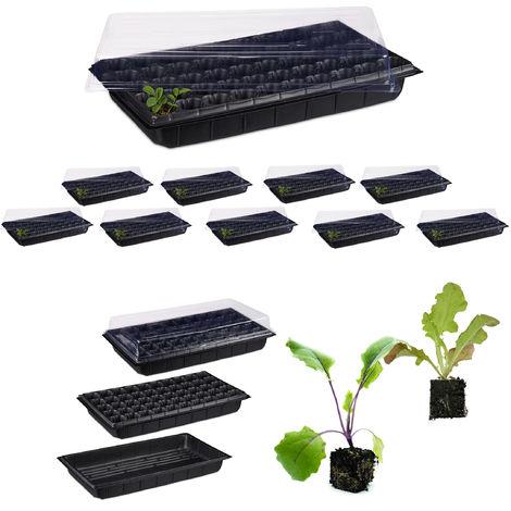 10 x Zimmergewächshaus für 50 Pflanzen, Deckel, Mini Gewächshaus, Terrasse, Balkon, Anzuchtschale, 55,5x29 cm, schwarz
