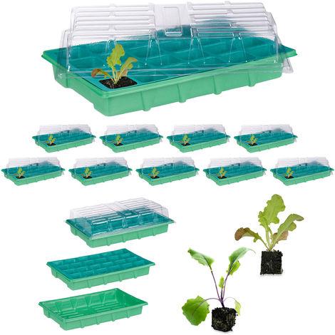 10 x Zimmergewächshaus je 24 Pflanzen, Deckel, Mini Gewächshaus, Fensterbank, Balkon, Anzuchtschale 38 x 24,5 cm, grün