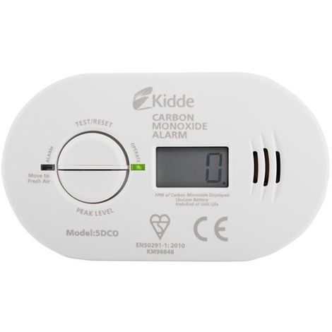 10 Year Life Digital Display Carbon Monoxide Alarm - Kidde 5DCO