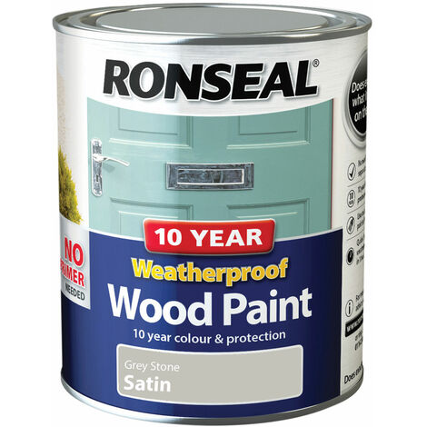 10 Year Weatherproof Wood Paint Grey Stone Satin 750ml (RSL38791)