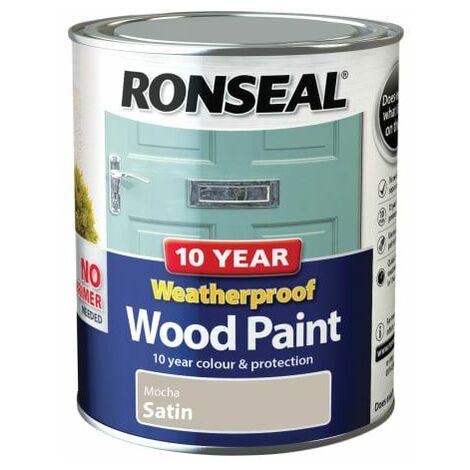 10 Year Weatherproof Wood Paint Mocha Satin 750ml (RSL38793)