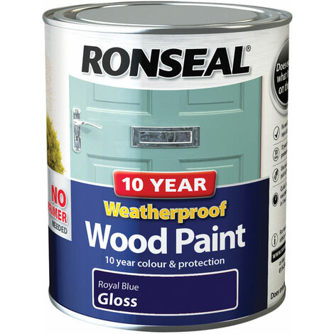 10 Year Weatherproof Wood Paint Royal Blue Gloss 750ml (RSL38777)