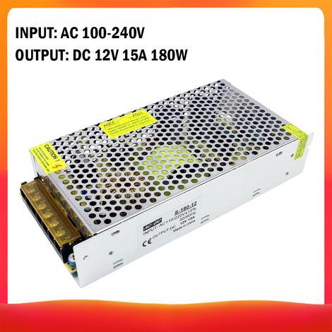 100-240 AC a DC 12V 15A 180W Transformador de voltaje regulado Switching Power-Supplys convertidor adaptador para tiras de luz para camara del ordenador de Radiocomunicaciones Proyecto