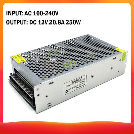 100-240 AC a DC 12V 20.8A 250W Transformador de voltaje regulado Switching Power-Supplys convertidor adaptador para tiras de luz para camara del ordenador de Radiocomunicaciones Proyecto