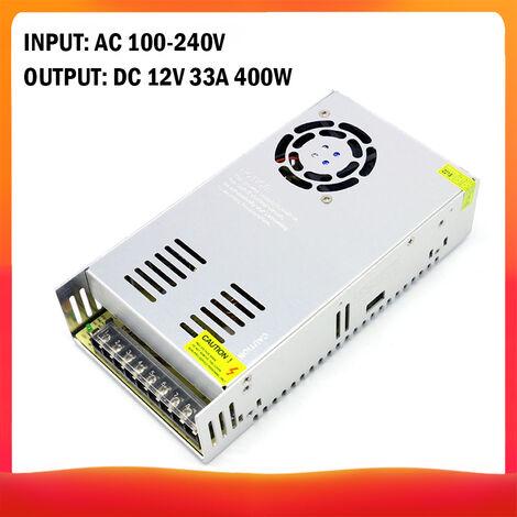 100-240 AC a DC 12V 33A 400W Transformador de voltaje regulado Switching Power-Supplys convertidor adaptador para tiras de luz para camara del ordenador Radio proyecto, DC 12V 33A 400W