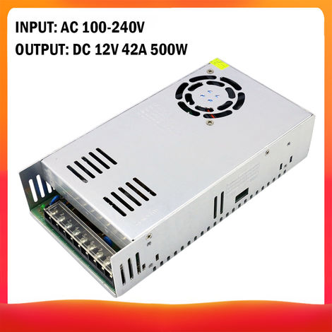 100-240 AC a DC 12V 42A 500W Transformador de voltaje regulado Switching Power-Supplys convertidor adaptador para tiras de luz para camara del ordenador de Radiocomunicaciones Proyecto